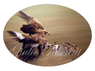 Golden eagle con lepre ovale 60 - Anno 2010 - Private collection